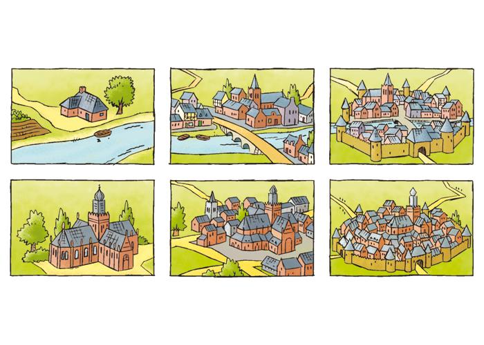 Roger klaassen illustratie strip en cartoon medieval cities